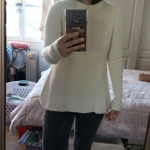 THEORY Ivory Ribbed Sweater size S
